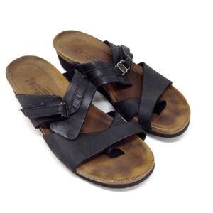 Naot Black Leather Comfort Contoured Sandals Shoes